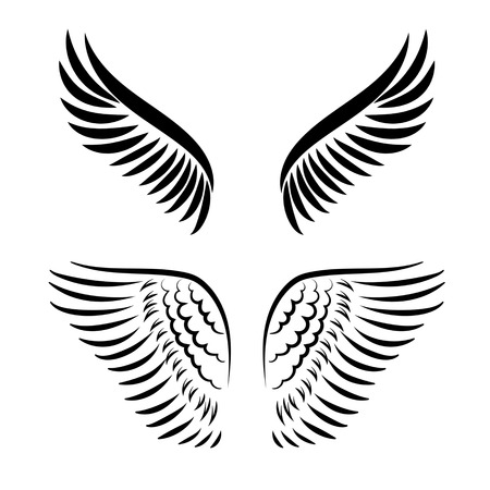 Abstract vector illustration wings set isolated on white background Vector Illustration