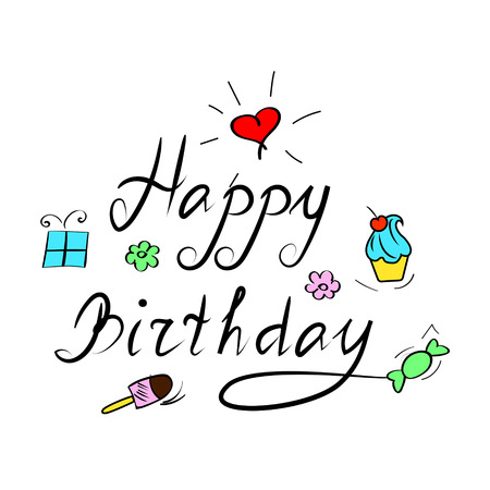handwrite: happy birthday, handwriting lettering isolated on white background Illustration