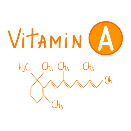 Chemical formula of Vitamin A handlettering vector illustration on white background Illustration