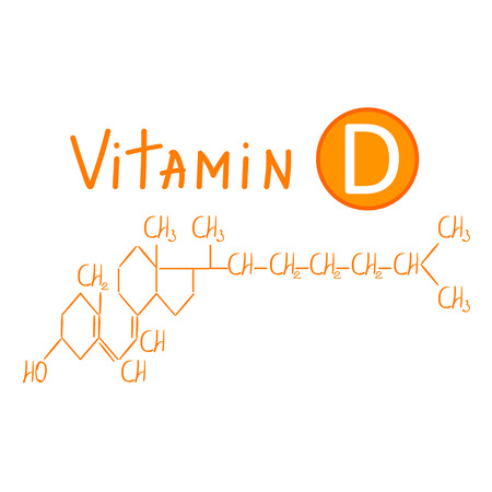 Hand drawing the chemical formula of vitamin d vector illustration isolated on white background