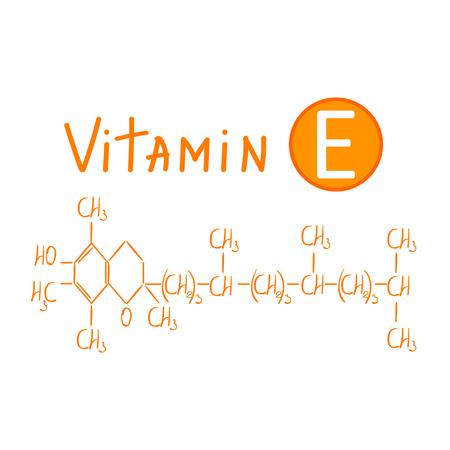 dessin de la formule chimique de la vitamine e illustration vectorielle main isolé sur fond blanc