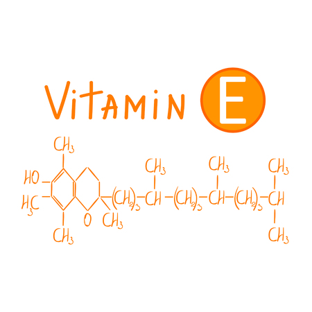 Hand drawing the chemical formula of vitamin e vector illustration isolated on white background