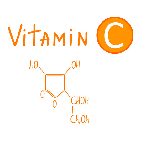 ascorbic: Hand drawing the chemical formula of vitamin C vector illustration isolated on white background