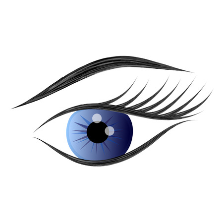 Woman eye on white background. Vector illustration.