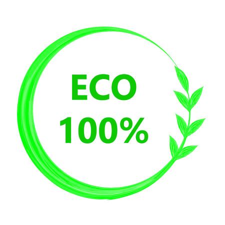 vegetarianism: 100 percent eco icon illustration Illustration