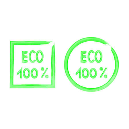 vegetarianism: Watercolor brush 100 percent eco icons illustration Illustration