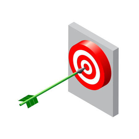 excellence: Target with arrow. Isometric style illustration.