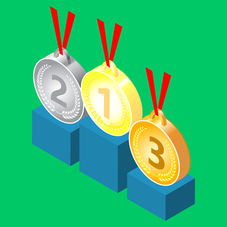 Set of medal icons. 3d Isometric illustration.