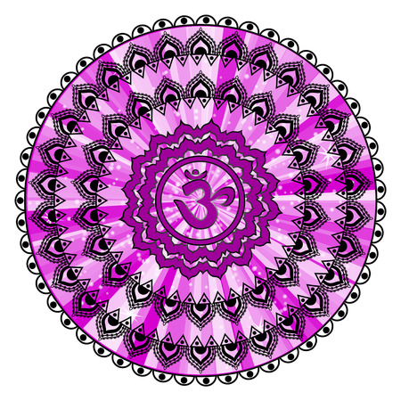 sahasrara: Circle mandala pattern. Sahasrara chakra illustration. Illustration