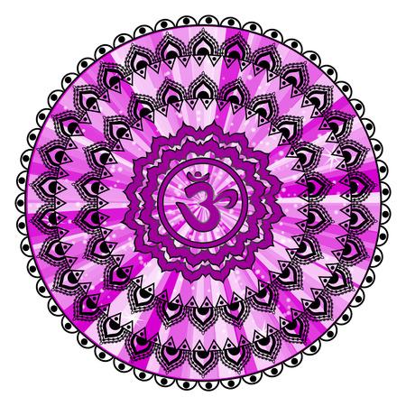 Circle mandala pattern. Sahasrara chakra illustration. Illustration