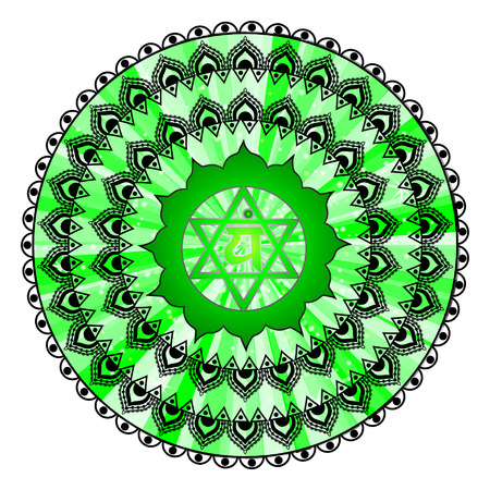 Circle mandala pattern. Anahata chakra illustration.