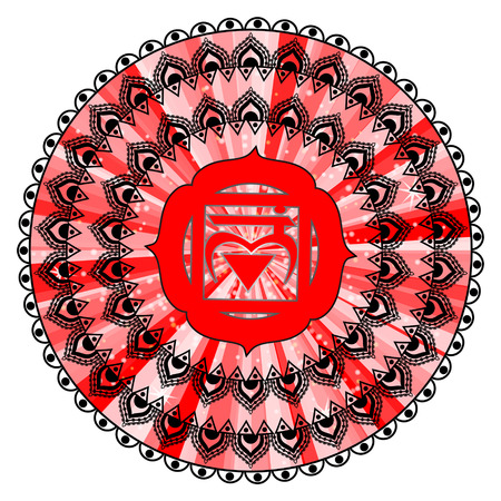 muladhara: Circle mandala pattern. Muladhara chakra illustration.