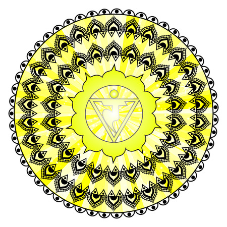 Circle mandala pattern. Manipura chakra  illustration.