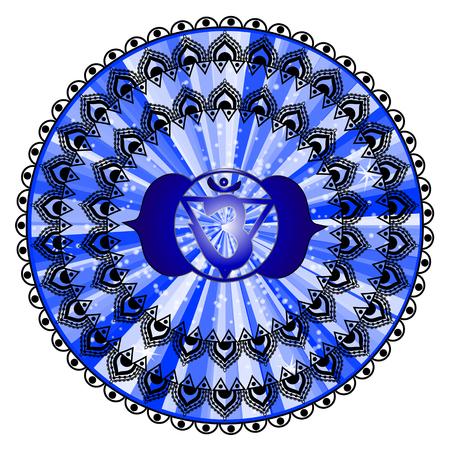 ajna: Circle mandala pattern. Ajna chakra illustration.