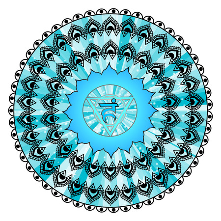 throat: Circle mandala pattern. Vishuddha chakra illustration. Illustration