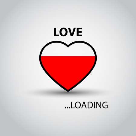 Love loading. Heart shape. Creative Valentines Day concept vector illustration Illustration