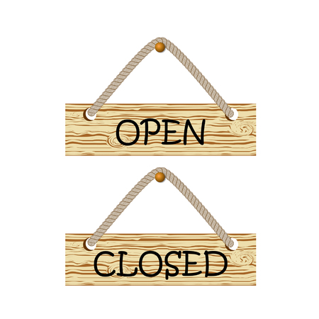 Open and closed wooden sign. Vector illustration