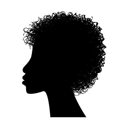 african woman face: African woman face silhouette Illustration