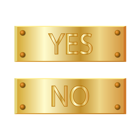 yes no: Metal banner YES and NO signs. Vector illustration. Illustration