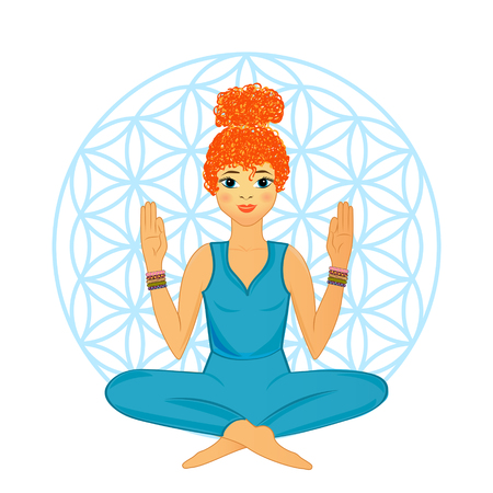 Woman in Yoga Practice Pose Vector Illustration