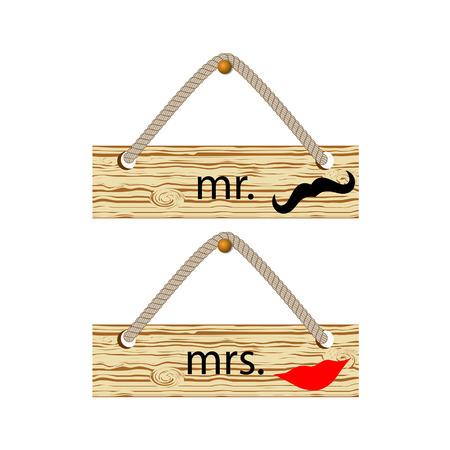 señora: El Sr. y la Sra cartel de madera. ilustración vectorial Vectores