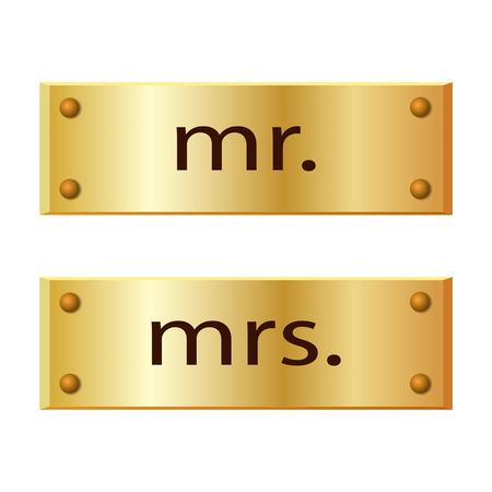 wedding reception decoration: Metal banner mr and mrs signs. Vector illustration.