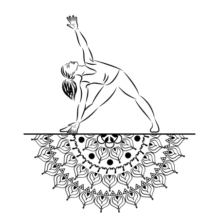 Yoga style mandala with woman line silhouette in yoga pose vector illustration. Illustration