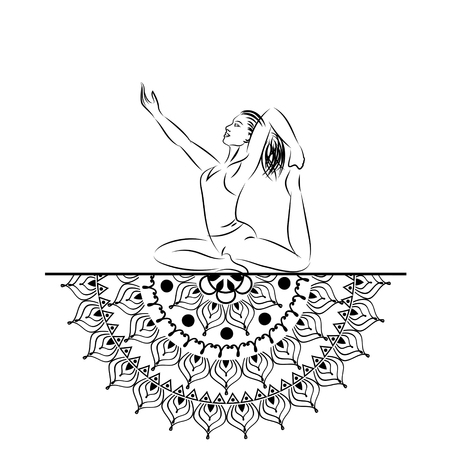 represent: Yoga style mandala with woman line silhouette in yoga pose vector illustration. Illustration