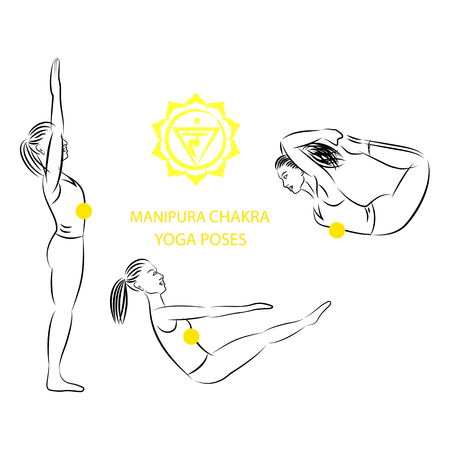 manipura: Yoga poses for Manipura chakra activation vector illustration.