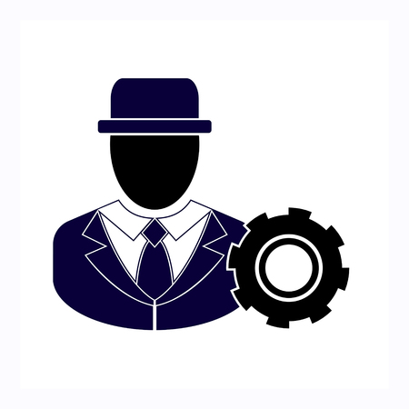 Businessman and cog icon. Vector illustration. Illustration