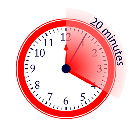 Clock 20 Minutes To Go Vector Illustration