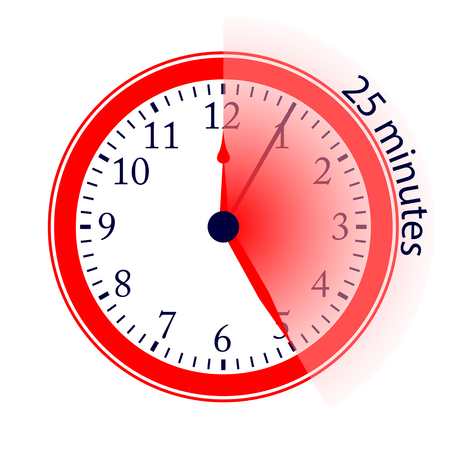 Clock 25 Minutes To Go Vector Illustration Illustration