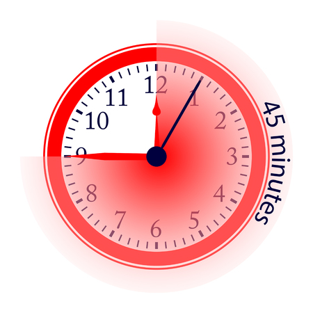 Clock 45 Minutes To Go Vector Illustration