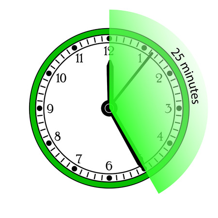 pm: Clock 25 Minutes To Go Vector Illustration Illustration