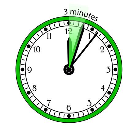 pm: Clock 3 Minutes To Go Vector Illustration Illustration