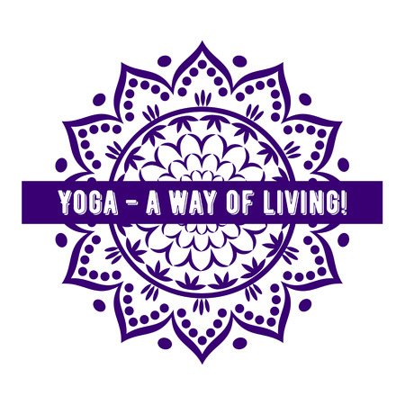 cotizacion: Banner  mandala with quote Yoga a way of living!. Vector illustration.