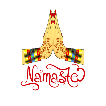Indian womans hand greeting posture of namaste, vector illustration Stock Illustratie