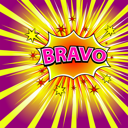 BRAVO! Comic book explosion. Vector illustration. Vettoriali