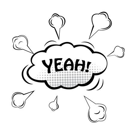 YEAH! Comic speech bubble, cartoon. Vector illustration.