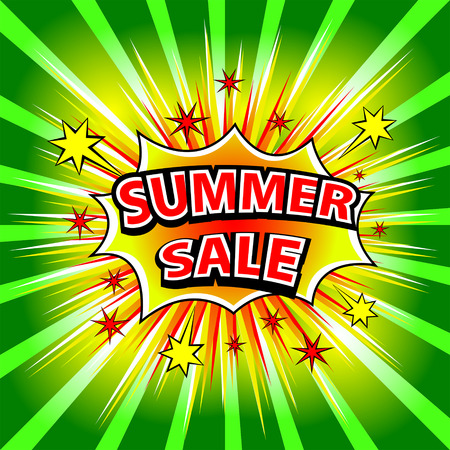 Summer sale! Comic book explosion. Vector illustration.