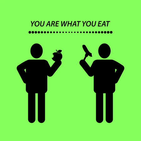 mindful: Quote, YOU ARE WHAT YOU EAT. Vector illustration. Illustration
