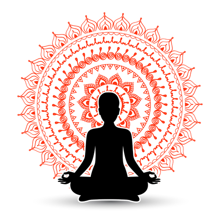sanskrit: Black silhouette of woman in meditation pose. Vector illustration.