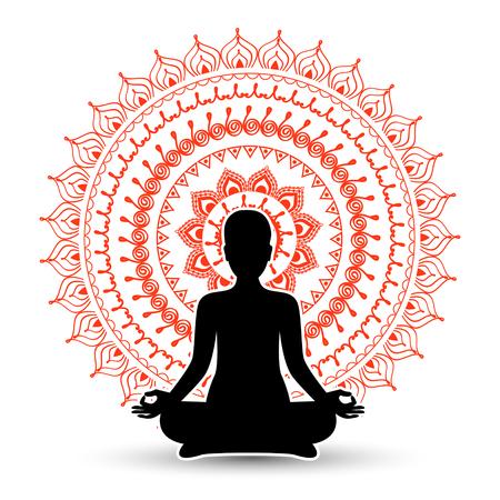 Silhouette noire de femme en pose de méditation. Illustration vectorielle
