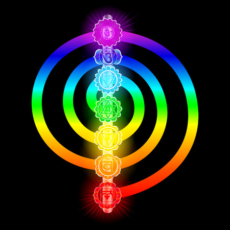 Seven chakras vector illustration.