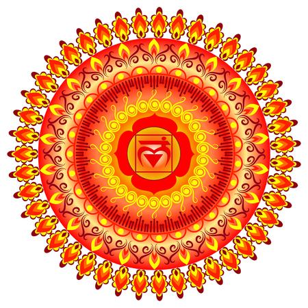 muladhara: Circle mandala pattern. Muladhara chakra vector illustration.