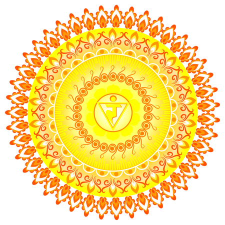 manipura: Circle mandala pattern. Manipura chakra vector illustration.