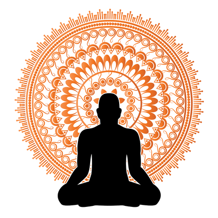 reiki: Black silhouette of man in meditation pose illustration. Illustration