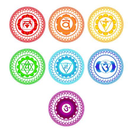 Conjunto de símbolos Chakra. Ilustración del vector.