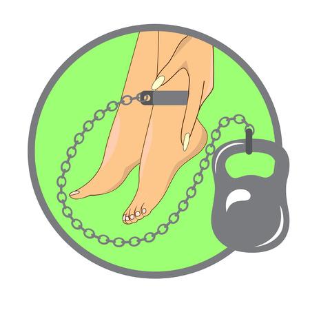 Heaviness in the legs. Vector illustration. Illustration