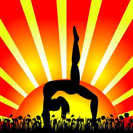 Silhouette of woman doing yoga during sunrise or sunset.Vector illustration.